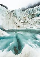 Ice formations on Fox Glacier, Westland Tai Poutini National Park, UNESCO World Heritage Area, West Coast, New Zealand, NZ