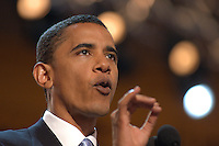 BOSTON, MA - July 27, 2004: Barack Obama's delivers the keynote address at the 2004 Democratic National Convention. Then a relatively unknown Illinois State Senator who was running for an Illinois US Senate seat, Obama's speech propelled him to the forefront of the Democratic party. He delivered the speech July 27, 2004, at the Fleet Center in Boston, Massachusetts.