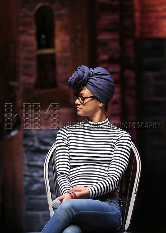 "Syndee Winters from the 'Hamilton' cast during a Q & A before The Rockefeller Foundation and The Gilder Lehrman Institute of American History sponsored High School student #EduHam matinee performance of ""Hamilton"" at the Richard Rodgers Theatre on 5/10/2017 in New York City."