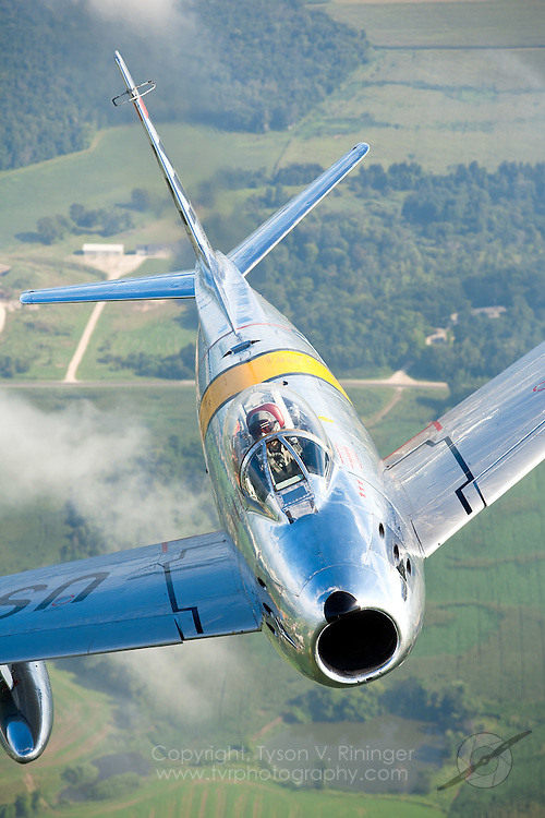 Steve Kirik pilots a beautifully maintained F-86 'Sabre' over Eastern Wisconsin.