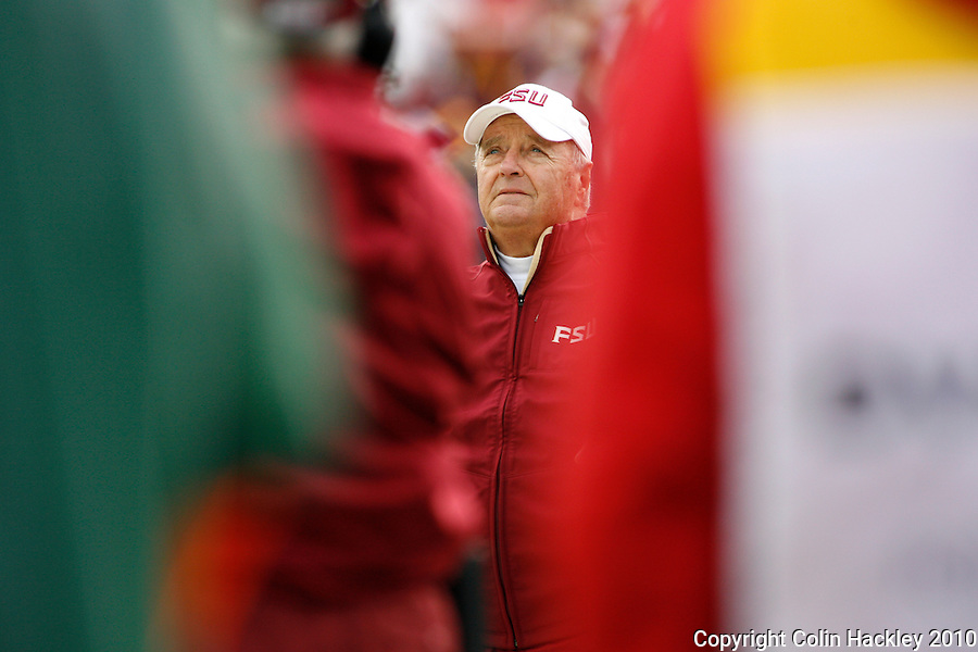 JACKSONVILLE, FL 1/1/10-FSU-WV FB CH34-Florida State Head Coach Bobby Bowden directs his final game against West Virginia during first half Gator Bowl action Friday in Jacksonville, Fla. .COLIN HACKLEY PHOTO