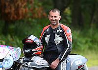 Aug 20, 2016; Brainerd, MN, USA; NHRA pro stock motorcycle rider Eddie Krawiec during qualifying for the Lucas Oil Nationals at Brainerd International Raceway. Mandatory Credit: Mark J. Rebilas-USA TODAY Sports