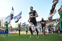 Elliott Stooke and the rest of the Bath Rugby team run out onto the field. European Rugby Challenge Cup match, between Bath Rugby and Pau (Section Paloise) on January 21, 2017 at the Recreation Ground in Bath, England. Photo by: Patrick Khachfe / Onside Images