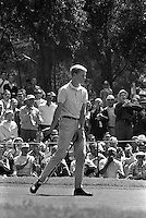 Young Johnny Miller sinks a putt at the 1966 U.S. Open tournament at the Olympic Club in San Francisco, Ca.<br />