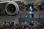 President Barack Obama talks to Boeing employees about his blueprint for an economy build to last based on American domestic manufacturing and promoting  American exports at the aerospace giant's Everett assembly facility on February 17, 2012. Later Obama will be  attending two fund raising events for his re-election campaign.   ©2012. Jim Bryant Photo. All Rights Reserved