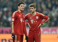 FUSSBALL   1. BUNDESLIGA  SAISON 2012/2013   17. Spieltag FC Bayern Muenchen - Borussia Moenchengladbach    14.12.2012 Mario Gomez und Thomas Mueller (v. li., FC Bayern Muenchen)