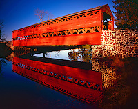Summer Sunrise at Sauck's Covered Bridge and Reflection, Originally built in 1854, Gettysburg, Pennsylvania