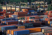 Colorful shipping containers stacked at the Port of Houston