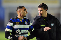Dan Bowden of Bath Rugby has a word with Freddie Burns of Leicester Tigers after the match. Anglo-Welsh Cup match, between Bath Rugby and Leicester Tigers on November 4, 2016 at the Recreation Ground in Bath, England. Photo by: Patrick Khachfe / Onside Images