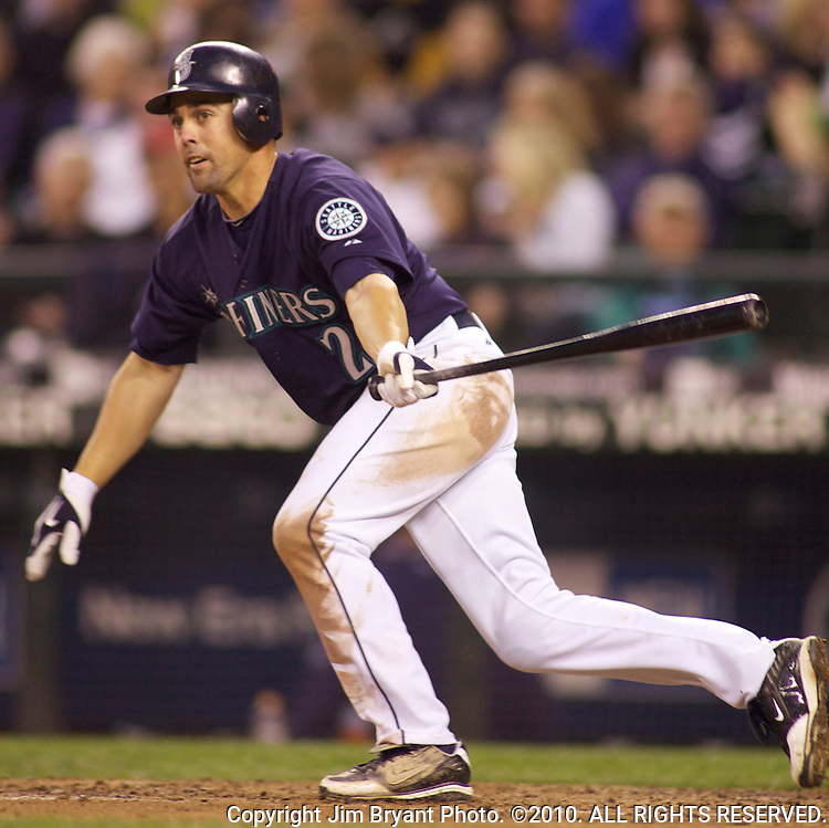 Seattle Mariners'  Jack Wilson bats against the Baltimore Orioles at SAFECO Field in Seattle April 19, 2010. The  Mariners beat the Orioles 8-2. Jim Bryant Photo. ©2010. ALL RIGHTS RESERVED.