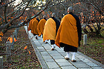 Ninnaji Temple Monks - Ninnaji is one of Kyoto's most interesting temples with a large variety of extraordinary buildings &amp; gardens on its spacious grounds. Among the numerous buildings on the grounds are elegant palace style buildings surrounded by beautiful Japanese gardens, a five storied pagoda, various temple halls, a massive entrance gate, bell tower and tea houses.  It was the first imperial temple in Kyoto and  now a UNESCO World Heritage site.