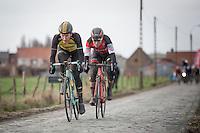 Final breakaway with eventual winner &amp; follow-up Jos Van Emden (NED/Team Lotto NL-Jumbo) &amp; Silvan Dillier (SUI/BMC Racing Team)<br /> <br /> 1st Dwars door West-Vlaanderen 2017 (1.1)