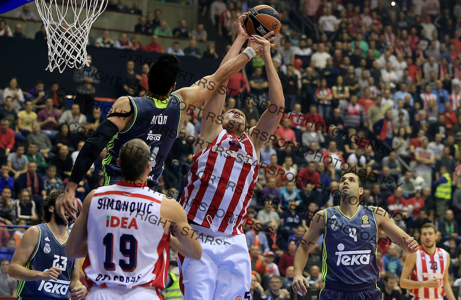 Kosarka Euroleague season 2015-2016<br /> Euroleague <br /> Crvena Zvezda v Real Madrid<br /> Vladimir Stimac (C) Gustavo Ayon (L) Felipe Reyes (R)<br /> Beograd, 27.11.2015.<br /> foto: Srdjan Stevanovic/Starsportphoto &copy;