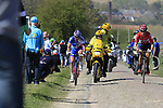 The breakaway group Jelle Wallays (BEL) Lotto-Soudal and Mickael Delage (FRA) FDJ on pave sector 25 Briastre a Solesmes during the 115th edition of the Paris-Roubaix 2017 race running 257km Compiegne to Roubaix, France. 9th April 2017.<br /> Picture: Eoin Clarke | Cyclefile<br /> <br /> <br /> All photos usage must carry mandatory copyright credit (&copy; Cyclefile | Eoin Clarke)
