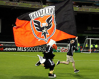 Flag and mascot Talon of D.C. United during an MLS match against the New York Red Bulls at RFK Stadium, in Washington D.C. on April 21 2011. Red Bulls won 4-0.