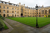 UK, England, Cambridge.  Corpus Cristi College, Inner Courtyard, looking toward the main entrance.