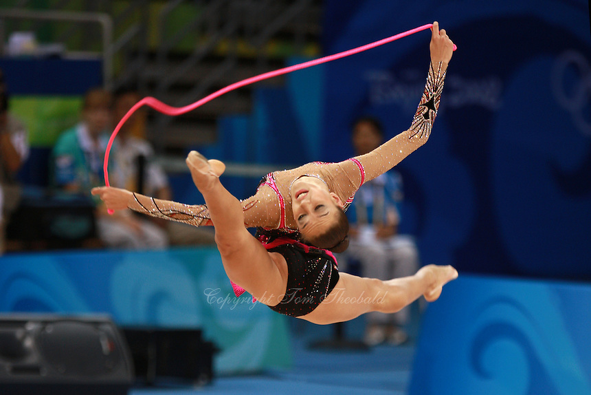 August 23, 2008; Beijing, China; Rhythmic gymnast Evgenia Kanaeva of Russia split leap with rope on way to winning gold in the All-Around final at 2008 Beijing Olympics..