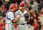 29 September 2010: Philadelphia Phillies' pitcher Brad Lidge get a greeting from catcher Paul Hoover after the final out of the game against the Washington Nationals at Nationals Park in Washington, DC. The Phillies defeated the Nationals 7-1 to take the rubber game of their 3-game series. Mandatory Credit: Ed Wolfstein Photo