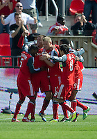 17 September 2011: Toronto FC midfielder Danny Koevermans #14 celebrates his first goal during a game between the Colorado Rapids and Toronto FC at BMO Field in Toronto..Toronto FC won 2-1.