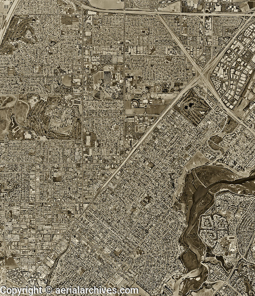 historical aerial photograph Costa Mesa, California, 1995