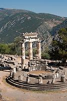 The sanctuary of Athena Pronaia, and the Tholos, Delphi, Greece