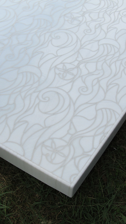 Octopus's Garden waterjet mosaic field shown in Moonstone jewel glass.