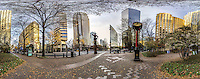 Charlotte, NC skyline buildings ,360 degree panoramic view, near downtown, Charlotte, NC, December  2015.  (photo by Brian Cleary/www.bcpix.com)