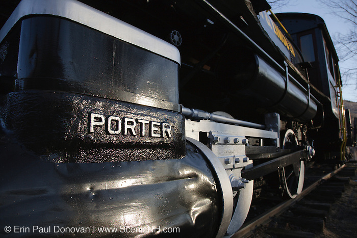 Porter 50 ton saddle tank engine locomotive on display at Loon Mountain along the Kancamagus Highway in Lincoln, New Hampshire, USA. This locomotive was used on the East Branch & Lincoln Railroad