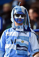 An Argentina supporter in the crowd looks on prior to the match. Rugby World Cup Pool C match between Argentina and Tonga on October 4, 2015 at Leicester City Stadium in Leicester, England. Photo by: Patrick Khachfe / Onside Images