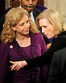 United States Representative Debbie Wasserman Schultz (Democrat of Florida) and Chairman, Democratic National Committee, left, and U.S. Senator Kirsten Gillibrand (Democrat of New York) await the arrival of U.S. President Barack Obama to deliver the State of the Union Address to a Joint Session of Congress in the U.S. Capitol in Washington, D.C., Tuesday, January 24, 2012..Credit: Ron Sachs / CNP.(RESTRICTION: NO New York or New Jersey Newspapers or newspapers within a 75 mile radius of New York City)