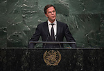His Excellency Mark Rutte, Prime Minister and Minister for General Affairs of the Kingdom of the Netherlands<br /> <br /> 6th plenary meeting High-level plenary meeting of the General Assembly (3rd meeting)