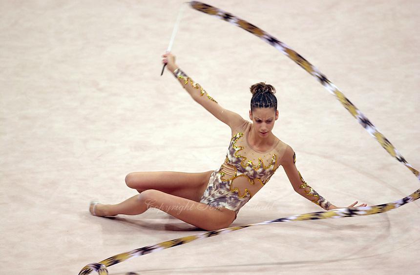 Oct 01, 2000; SYDNEY, AUSTRALIA:<br /> Almudena Cid Tostado of Spain performs with ribbon during rhythmic gymnastics final at 2000 Summer Olympics.