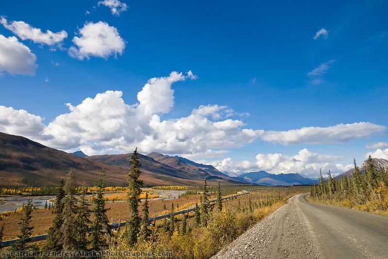 Trans Alaska Oil Pipeline along the James Dalton Highway in the Brooks range, arctic Alaska.