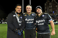 Leroy Houston, Francois Louw and Rob Webber of Bath Rugby after the match. European Rugby Champions Cup match, between Bath Rugby and Leinster Rugby on November 21, 2015 at the Recreation Ground in Bath, England. Photo by: Patrick Khachfe / Onside Images