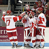 Evan Rodrigues (BU - 17), Alexx Privitera (BU - 6), Danny O'Regan (BU - 10), Ahti Oksanen (BU - 3) - The visiting Northeastern University Huskies defeated the Boston University Terriers 6-5 on Friday, January 18, 2013, at Agganis Arena in Boston, Massachusetts.