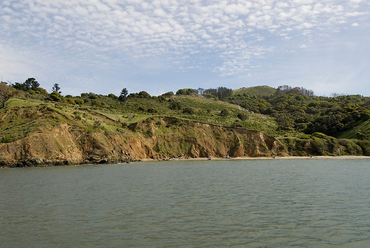 Angel Island State Park, in San Francisco Bay, CA, California.  People disembark and picnic at Ayala Cove, then hike, bike, or tram perimeter road, with stops at Civil War era Camp Reynolds, and its restored officer house, or Spanish American War era Fort McDowell..Photo camari251-70488..Photo copyright Lee Foster, www.fostertravel.com, 510-549-2202, lee@fostertravel.com.