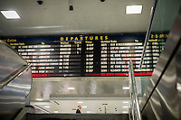 The departure schedule board for Amtrak and NJ Transit in Pennsylvania Station in New York on Tuesday, September 27, 2016. (© Richard B. Levine)