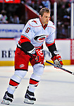 21 December 2008: Carolina Hurricanes' defenseman Tim Gleason warms up prior to a game against the Montreal Canadiens at the Bell Centre in Montreal, Quebec, Canada. The Hurricanes defeated the Canadiens 3-2 in overtime. ***** Editorial Sales Only ***** Mandatory Photo Credit: Ed Wolfstein Photo