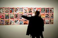 DEU, Deutschland, Germany, Berlin, 15.10.2010.Visiter viewing issues of the magazine Der Spiegel vith cover photos of Adolf Hitler at the exhibition Hitler and the Germans Nation and Crime, Hitler und die Deutschen Volksgemeinschaft und Verbrechen, at the Deutsche Historische Museum, German Historical Museum, in Berlin, Germany. The new exhibition opening in Berlin has Adolf Hitler as its focus for the first time. It seeks to answer the question of why so many Germans chose to follow Hitler and his fascist ideology and so devotedly despite the horrors of World War II and the Holocaust. Exhibition hitler and the Germans. Exhibition, culture, cultural, visitor, visitors,  work of art, art, europe, exhibitions, exposition, expositions, geman, show, German, Germany, Europe, 2010, Event, Politics, Adolf Hitler, Fascism, Nazism, Arts Culture and Entertainment, display..[(c) Stefan Boness/Ipon - Veroeffentlichung nur gegen Honorar (zuzuegl. MwSt.), Namensnennung und Beleg; Kto.: 940165350, Bln. Spk., BLZ 100 500 00; Claudiusstr. 6, 10557 Bln, Phone: ++49-(0)30-3934318, www.iponphoto.com, e-mail: boness@iponphoto.com; No Model Release. Vereinbarungen ueber Model Release / Abtretung von Persoenlichkeitsrechten der abgebildeten Person/Personen liegen nicht vor.]