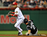 16 August 2008: Washington Nationals' infielder Emilio Bonifacio in action against the Colorado Rockies at Nationals Park in Washington, DC.  The Rockies defeated the Nationals 13-6, handing the last place Nationals their 9th consecutive loss. ..Mandatory Photo Credit: Ed Wolfstein Photo