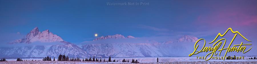 Sunrise, Full Moon, Grand Tetons, Grand Teton National Park, Jackson Hole Wyoming