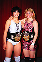 (L-R) Sakie Hasegawa,  Debbie Malenko, JANUARY 5, 1992 - Pro Wrestling : Sakie Hasegawa and Debbie Malenko pose with their AJW Tag Team Championship belts during the All Japan Women's Pro-Wrestling event at Korakuen Hall in Tokyo, Japan. (Photo by Yukio Hiraku/AFLO)