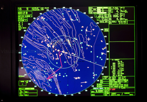 Monitor in the wheelhouse of a Dutch fishing vessel