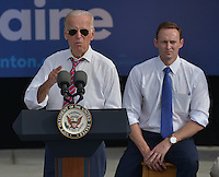 PALM BEACH GARDENS, FL - NOVEMBER 02: Vice President Joe Biden (L) speaking onstage with U.S. Representative (D-FL-18) Patrick Murphy during a public campaign rally for 'Get Out The Early Vote' for Democratic presidential nominee Hillary Clinton at Palm Beach State College-Amphitheater (Center of Campus) on November 2, 2016 in Palm Beach Gardens, Florida. Vice President Biden will urge Floridians to take advantage of early voting right away with six day left for election. Credit: MPI10 / MediaPunch