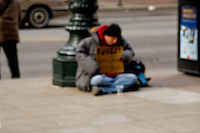 Homeless people as seen on the streets of Chicago, Illinois.<br />
