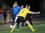 St Johnstone v Livingston.....30.11.13     Scottish Cup 4th Round<br /> David Wotherspoon is closed down by Jason Talbot<br /> Picture by Graeme Hart.<br /> Copyright Perthshire Picture Agency<br /> Tel: 01738 623350  Mobile: 07990 594431