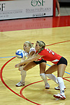 25 AUG 2007: Kasey Mollerus and Mallory Leggett both go for the same dig. Illinois State defeated Valparaiso in 3 straight games to take the match with a shut out. The Valparaiso Crusaders visited the Illinois State Redbirds on Doug Collins Court in Redbird Arena on the campus of Illinois State University in Normal Illinois.
