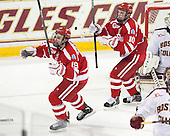 Robbie Baillargeon (BU - 19), Danny O'Regan (BU - 10) - The Boston College Eagles defeated the visiting Boston University Terriers 6-4 (EN) on Friday, January 17, 2014, at Kelley Rink in Conte Forum in Chestnut Hill, Massachusetts.
