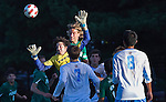 09/11/2012 - Somerville, Mass. - Tufts goalkeeper Wyatt Zeller, A14, clears a corner kick in the box in Tufts' 3-0 win over Plymouth State at Kraft Field on Sept. 11, 2012. (Kelvin Ma/Tufts University)