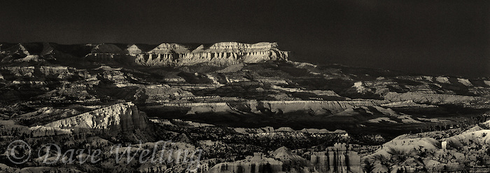 904000011bw a clearing summer storm creates more three dimensional light in this view of the aquarius plateau and the silent city in bryce canyon national park in utah when rendered in black and white